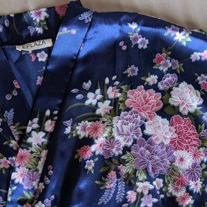 Blue silk floral kimono